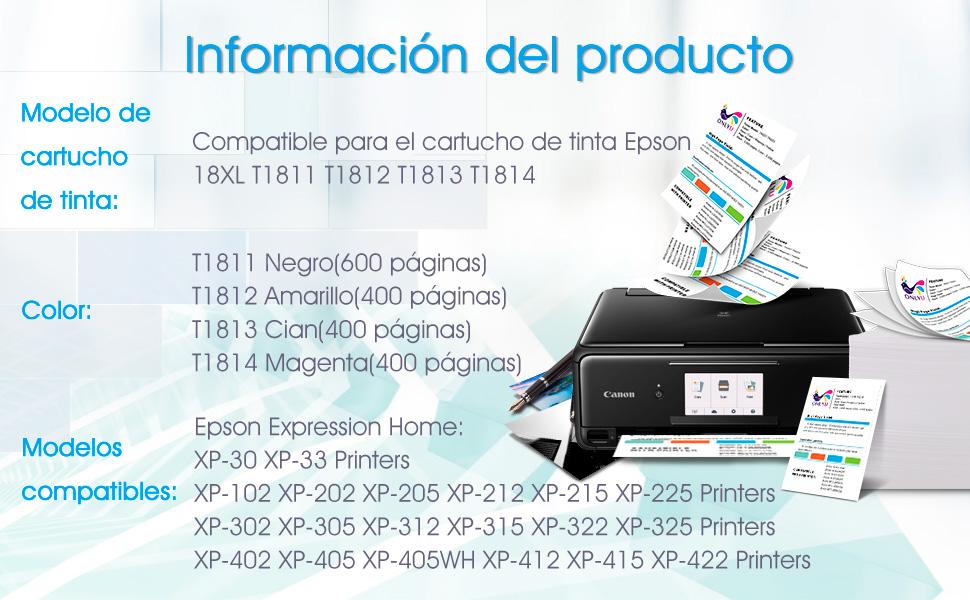 ONLYU 20Pack Compatible para Epson 18XL T1811-T1814 para Epson XP ...