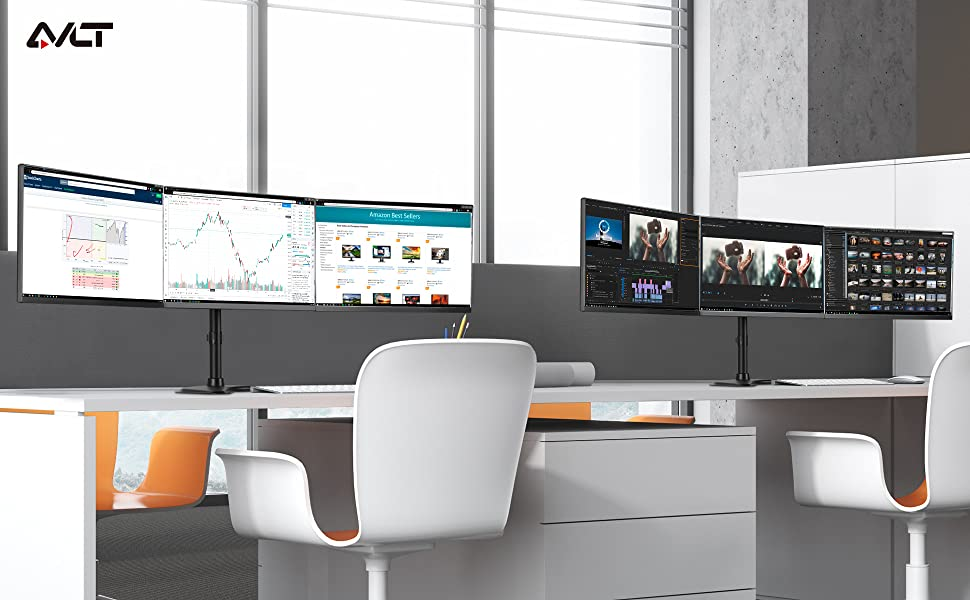 """Triple Monitor Free-Standing Desk Stand - Hold 13""""-27"""" 17.6 lbs LCD Screens Height Adjustable"""