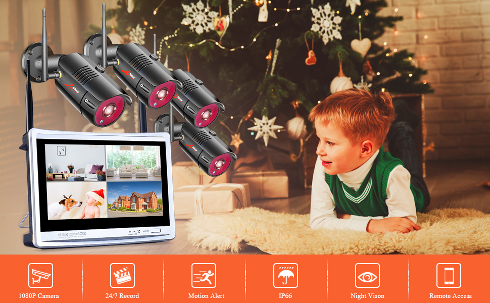 wireless home security camera system  [All-in-One] 1080P Home Security Camera System Wireless with 12 Inch Monitor WiFi Surveillance NVR Kits,8 Channel WiFi Video Security System with 1TB HDD with 4Pcs 2.0MP IP Cameras,Free APP by ANRAN dabc717d e9a7 40f4 a380 c9e0592bce3a