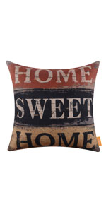 LINKWELL 18x18 inches Vintage Words Home Sweet Home Pillow Cover
