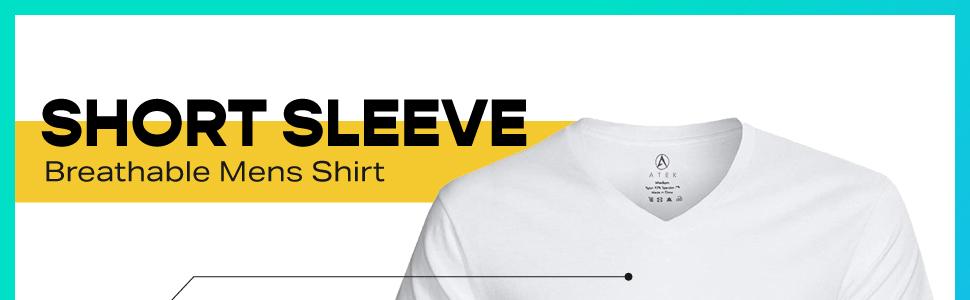 atek mens short sleeves white tshirt active t shirt under armour lulu lemon moisture wicking