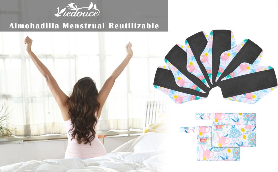 Viedouce Almohadilla Menstrual Reutilizable,Súper Absorción Reutilizables de Carbón de Bambú Almohadilla Menstrual con 2 Impermeables Bolsas de ...