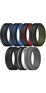 Silicone Wedding Rings for Men 2 Layers