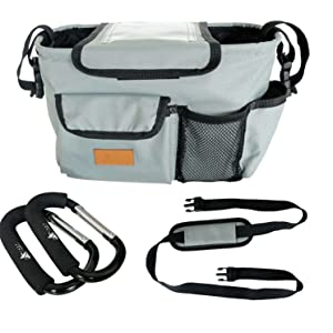 stroller organizer large small big cup holder insulated baby kid child accessory