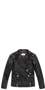 Budermmy Boys Atletic Faux Leather Moto Zipper Jackets Blue Size 3t