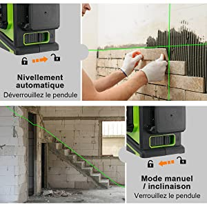 Pendule Intelligent: 1. Mode de mise à niveau automatique: ¡ñLorsque l'outil laser est mis en position déverrouillée, le mode de mise à niveau automatique est activé. ¡ñLe faisceau laser clignote lorsque l'outil dépasse la plage d'autocalage de ± 4°. 2. Mode manuel / inclinaison: ¡ñLorsque le pendule est verrouillé, l'outil laser peut être placé pour l'alignement à n'importe quel angle. ¡ñLe faisceau laser clignote toutes les 3 à 5 secondes pour vous rappeler qu'il n'est pas auto-nivelant maintenant.