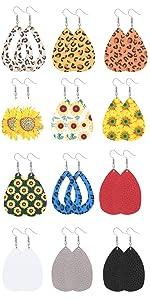 women Sunflower drop leather earrings