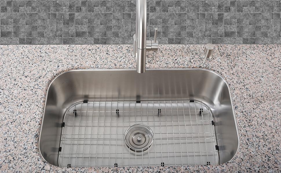 "Amazon.com: Serene Valley Kitchen Sink Bottom Grid and Sink Protector  NDG3019, 304 Premium Stainless Steel, dim 26"" x 14 1/8"": Kitchen & Dining"