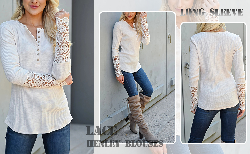 Lace Buttons Henley Blouses