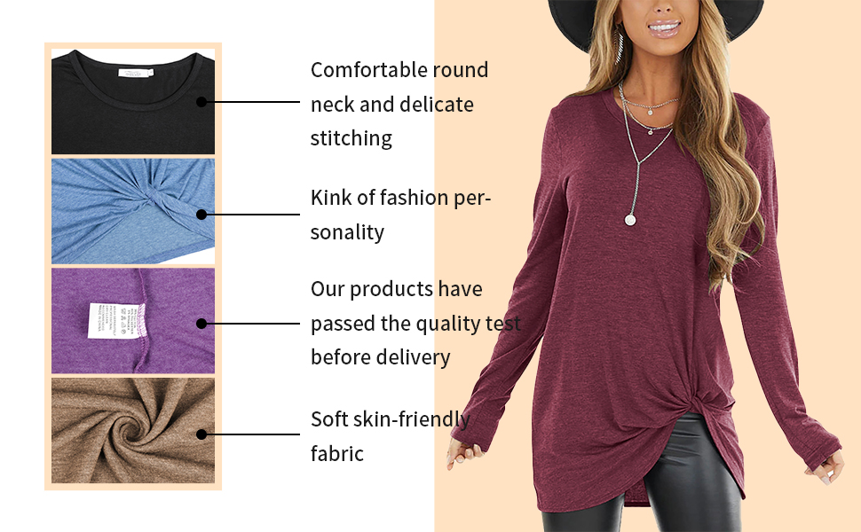 Fashion Solid Soft Blouse Tunic Womens Blouses And Tops For Work T-Shirts Twist Knot Tops For Women