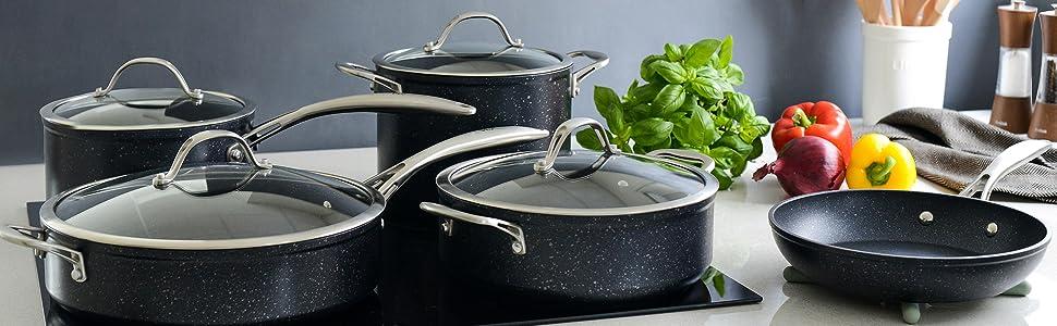 batterie de cuisine set casseroles pierre couvercle verre trempé antiadhesif poêles induction