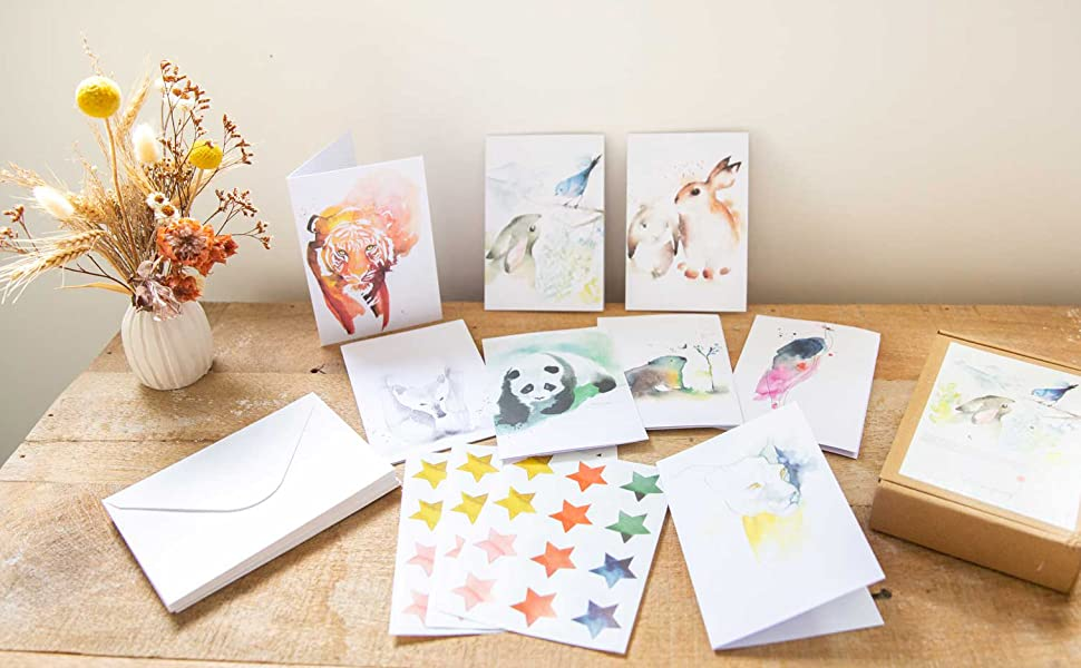 greeting cards, all occasion cards, cute animals watercolour cards with envelopes and stickers
