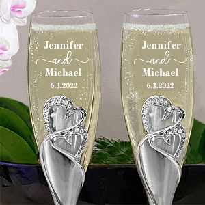 Sparkling Love personalized wedding toasting glasses
