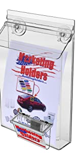 """Marketing Holders - 8.5""""w x 11""""h Outdoor Brochure Holder with Suction Cups amp; Business Card Holder"""