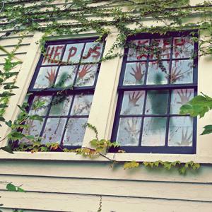BLOODY HANDPRINTS DOOR/ WINDOW COVERS