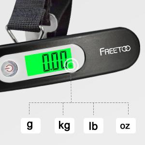 FREETOO Digital Balanza Báscula de Equipaje LCD Portátil Escala de Equipaje 110 lb/50 kg Capacidad Batería Incluida para Viajes Al Aire Libre ((Negro)