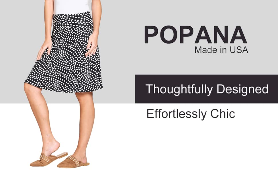 Popana Womens Casual Knee Length A-Line Stretch Midi Skirt Plus Size Made in USA