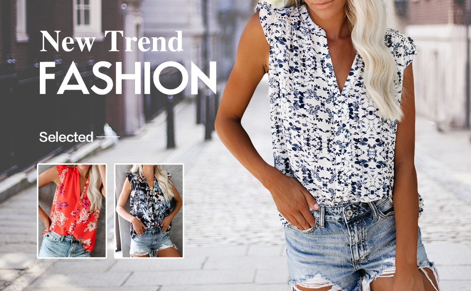 Teresamoon Women Casual Ruffle Sleeveless V Neck Floral Printed Tank Tops Summer Chiffon Blouse