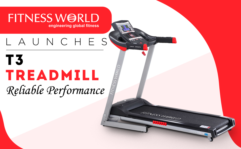 FITNESS WORLD T-3 Motorised Treadmill for Home and Gym, Health & Fitness Exercise Treadmill SPN-FOR1