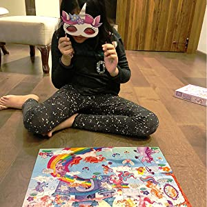 Chalk and Chuckles Unicorn Puzzle with mask for kids. A magical 100 pc puzzle