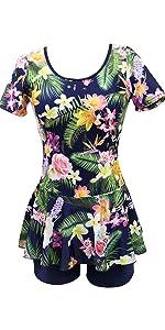 Ecupper Womens Short Sleeve One Piece Floral Swimwear Shaping Body Dress Swimdress Bathing Suit