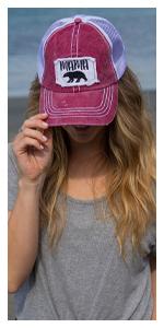 mama bear patch hat mesh trucker distressed vintage cap