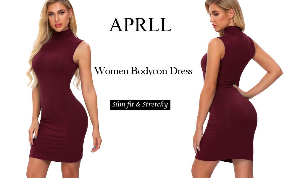 women turtleneck bodycon dress