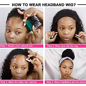 Headband Human Hair Wig Deep Wave Glueless Human Hair Wigs With Pre-attached Scarf Non Lace Front