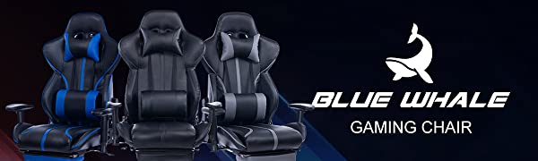 1  Blue Whale Gaming Chair with Adjustable Massage Lumbar Pillow,Retractable Footrest and Headrest -Racing Ergonomic High-Back PU Leather Office Computer Executive Desk Chair (GM039Black-2) db17eca5 c76e 401c 8770 154929340ecb