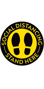 """Social Distance Floor Stickers Stand Here - 8"""" Round - Yellow/Black"""