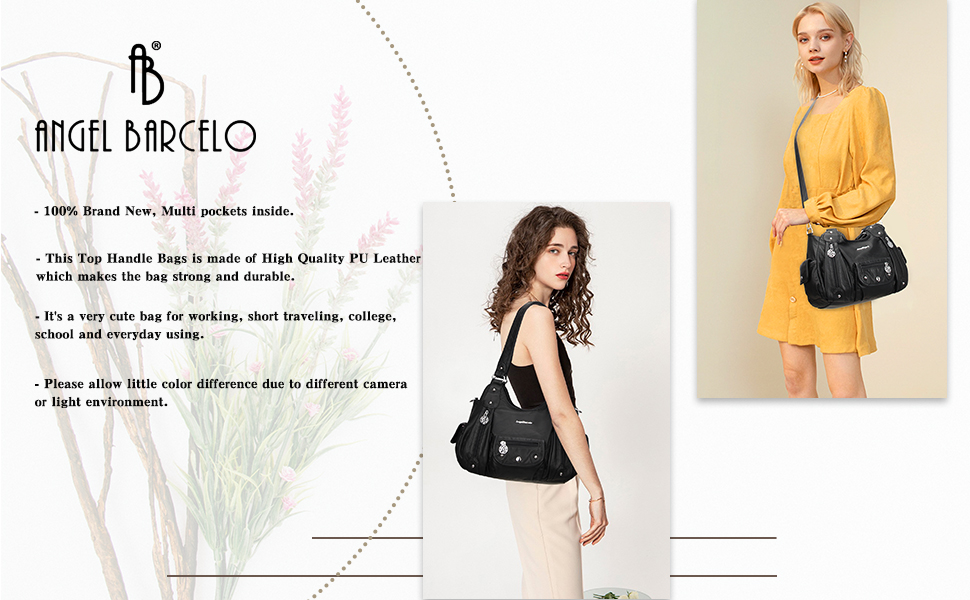 Angel Barcelo Womens Soft Leather Handbag Large Tote Shoulder Cross body Bag