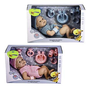 """14"""" Newborn Bathable Girl / Boy Baby Doll With Dummy & Accessories Perfect Gift Box"""