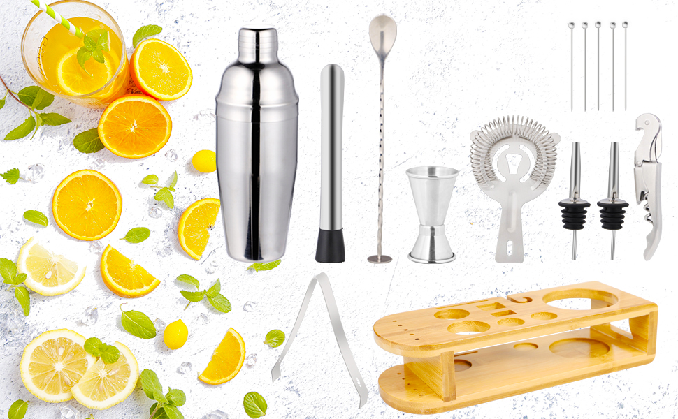 stusgo cocktail shaker set with stand Stainless Steel Bar Tools Perfect Home Bar Tool Gift Set