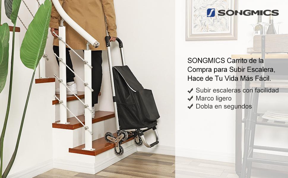 SONGMICS Carrito de la Compra Plegable para Subir Escaleras con 6 Ruedas, con Bolsa Aislante, Capacidad de Carga de 30 kg, Negro KST05BKV1: Amazon.es: Hogar