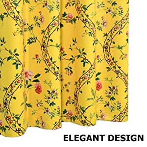 dark yellow floral blackout curtains
