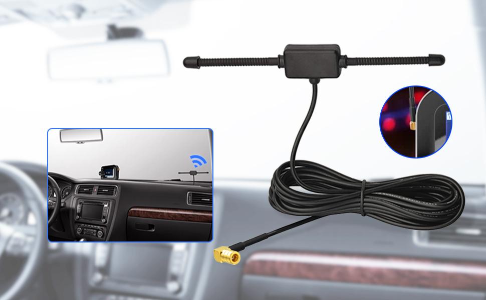 Eightwood Dab Antena SMB Antena Radio Dab Antena Antena Parabrisas con conexión SMB en ángulo Recto Antena 3m 9.8ft para Radio de automóvil