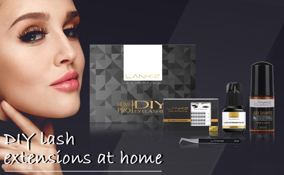 DIY eyelash extension kits are pack of individual lashes, sensitive eyelash glue, tweezers shampoo
