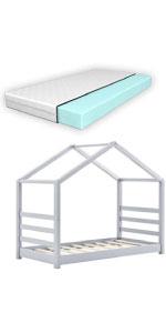 Lit cabane Vardø lit d'enfant forme maison pin 80x160cm gris clair matelas mousse à froid