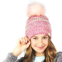 Girl Faux Fur Pom Pom Beanie Slouchy Chunky Soft Warm Winter Beanie hat Knit Ski Snowboard