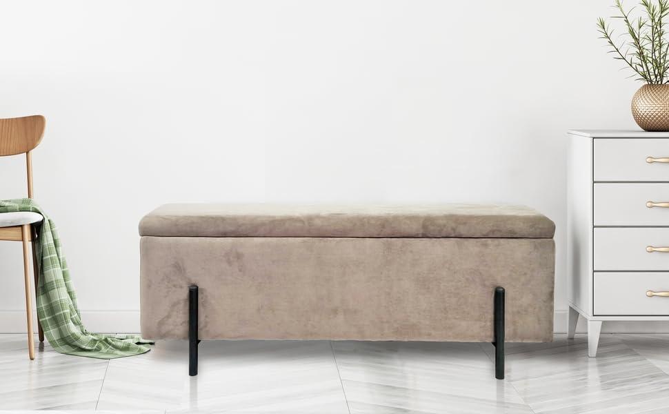 Amazon De Lifa Living Graue Sitzbank Mit Stauraum Vintage Polsterbank Samt Mit Holz Aufbewahrung Sitztruhe Fur Flur Schlafzimmer Wohnzimmer Belastbarkeit 100kg