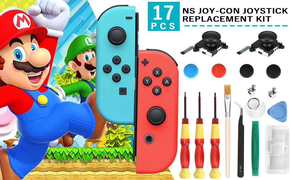 Veperain 2 Recambios 3D de Joysticks Analógicos para Nintendo Switch Joy-Con, con Destornillador Herramientas de Reparación,4 ThumbStick