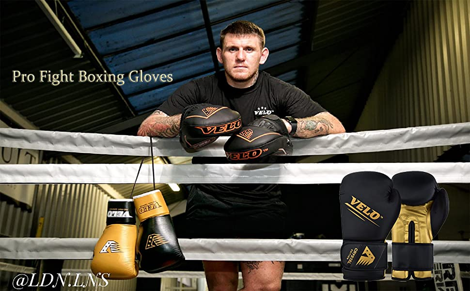 VELO Boxing Gloves Crystal Leather Muay Thai Training Sparring Punching Bag Mitt