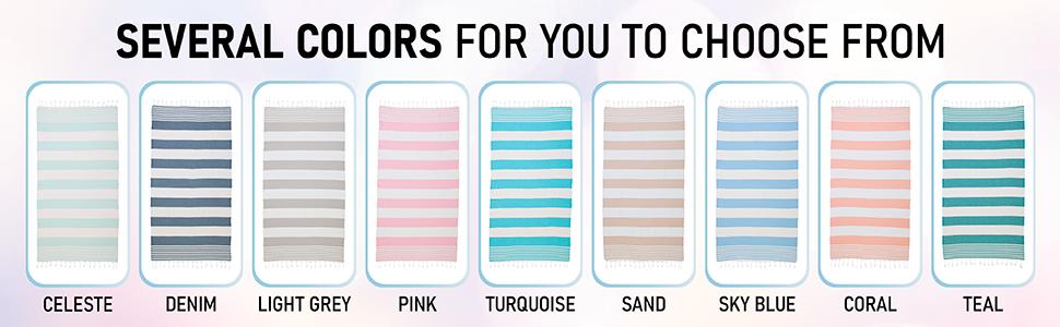 Beach towel color options