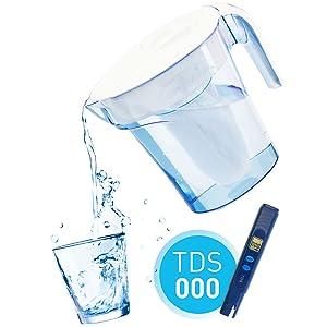 ZeroWater Dispensador de Agua Filtrada de 9 litros de Cristal, Medidor de Calidad de Agua Gratis, Libre de BPA y Certificado para Reducir el Plomo y Otros Metales Pesados, Cartucho Filtro Incluido: