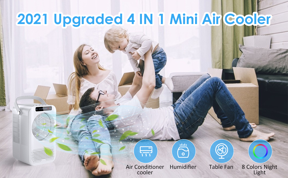2021 upgraded 4 in 1 mini air cooler