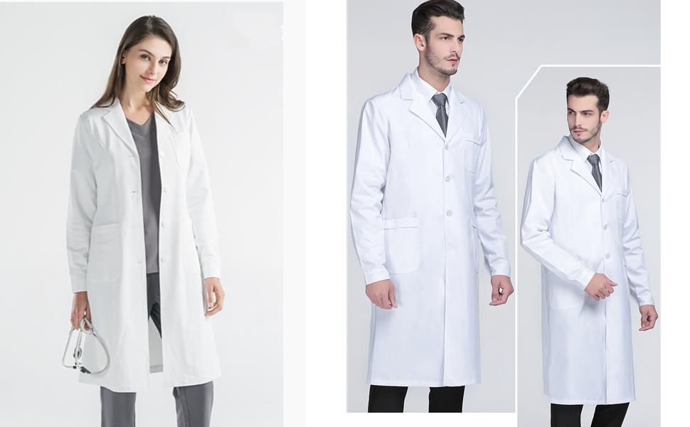 Bata de Laboratorio Bata Médica para Mujer 100% Algodón Abrigo Blanco Damas Hombres Estudiantes Escuela Enfermera Cosplay: Amazon.es: Ropa y accesorios