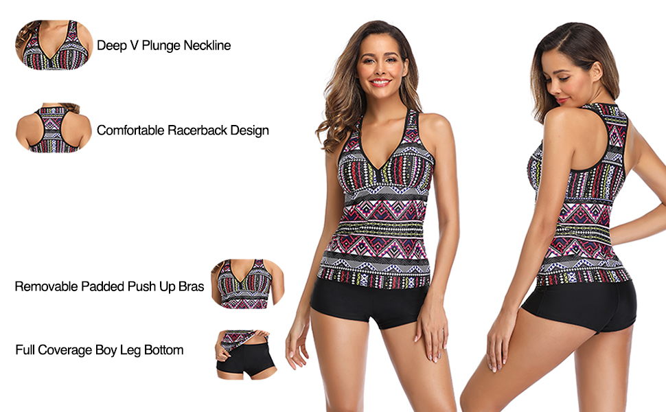 Tempt Me Tankini Swimsuits for Women with Short V Neck Racerback Printed Two Piece Bathing Suit