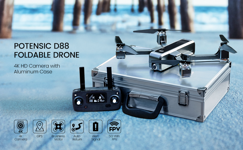 D88  Potensic D88 Foldable Drone, 5G WiFi FPV Drone with 4K Camera, RC Quadcopter for Adults and Experts, GPS Return Home, Ultrasonic Altitude Setting, Optical Flow Positioning, 2 Battery 40min-Upgrade db4bb8c4 5e9e 406f 9c6f 361bb674ba10