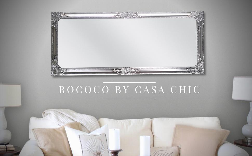 Rococo by Casa Chic - Shabby Chic Wall Mirror - 130x45 cm -Solid Wood