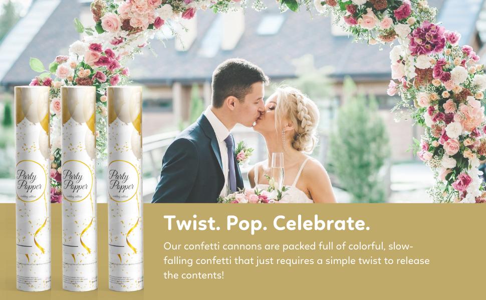 wedding confetti cannons poppers celebration happy bride groom